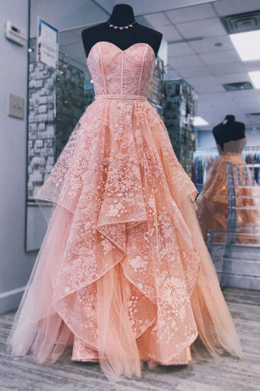 Pin By Olivia On Anime Cloths Shoes Stuff Peach Prom Dresses