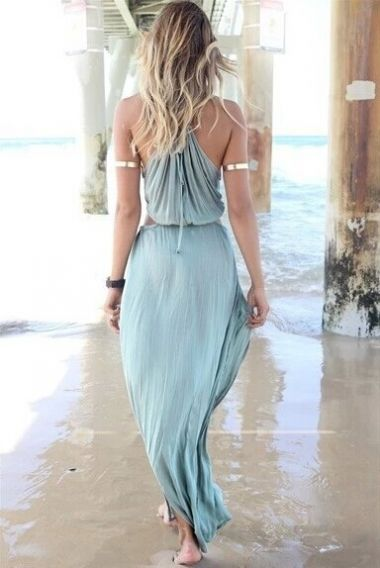 Blue Waist Hollow-out Sleeveless Beach Maxi Dress
