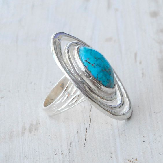 Turquoise Ring  Sterling Silver Spiral Infinity by SunSanJewelry