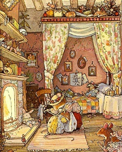 Brambly Hedge!!!!!!!!!!!!!   I love these books and the illustrations are so sweet. Makes me want to pull a chair up to the fireside and have a cup of tea. And a scone of course.