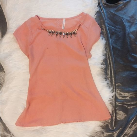 Coral jeweled top Great condition! feel free to ask questions :) Tops Blouses
