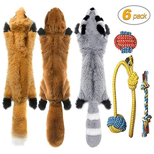 Peteast 3 Squeaky Toys And 3 Rope Dog Toys No Stuffing Squeaky