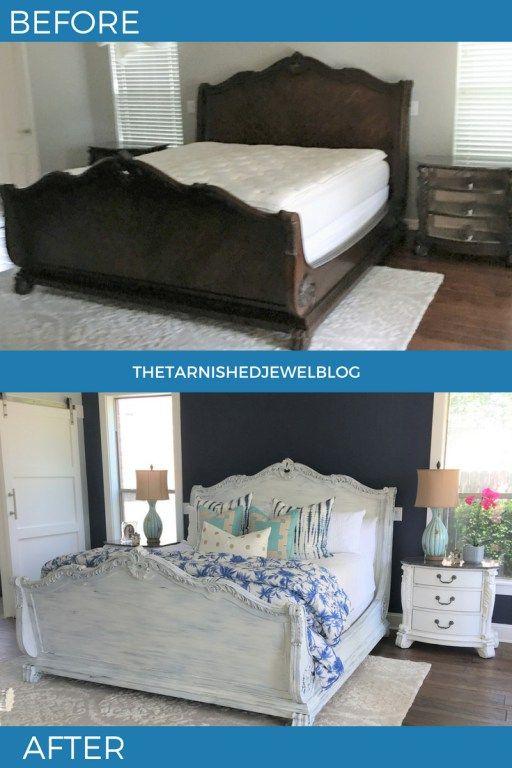 Master Bed Frame Makeover Painted White Bedroom Makeover
