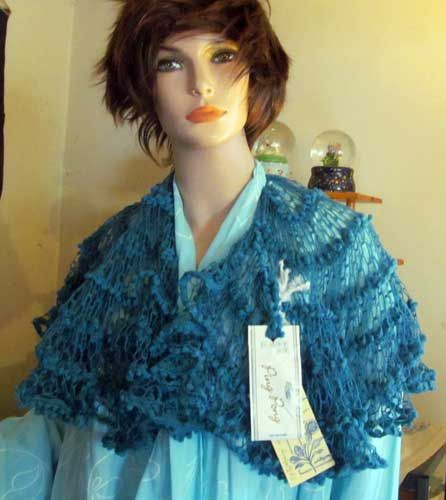 Teal Blue Green Frilly Shawl wHair Scunci | lovelythings - Accessories on ArtFire