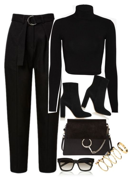 """Untitled #1084"" by oh-its-anna ❤ liked on Polyvore featuring Nadia Tarr, Yves Saint Laurent, Gianvito Rossi, Chloé and H&M"
