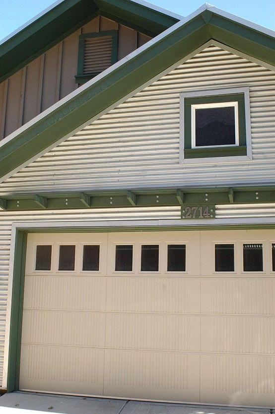 Corrugated metal siding garage google search garage for Metal board and batten siding