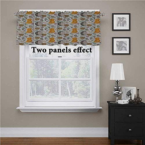Interestlee Hedgehog Rest Room Curtains Window Sample With Hedgehog Fox Basket Mushrooms Cones And Spruce Life In The Curtains Valance Bathroom Window Curtains
