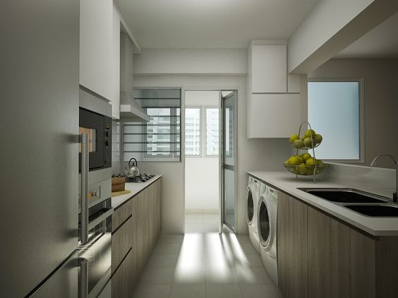 No top cabinets for one side of kitchen appears more open for Kitchen ideas hdb