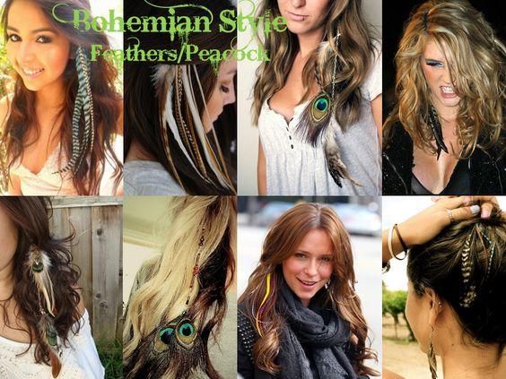 hair feathers peacock 2012 2013 trend brown blonde green #hairrichextensions hair extensions celebrity kesha jennifer love hewitt