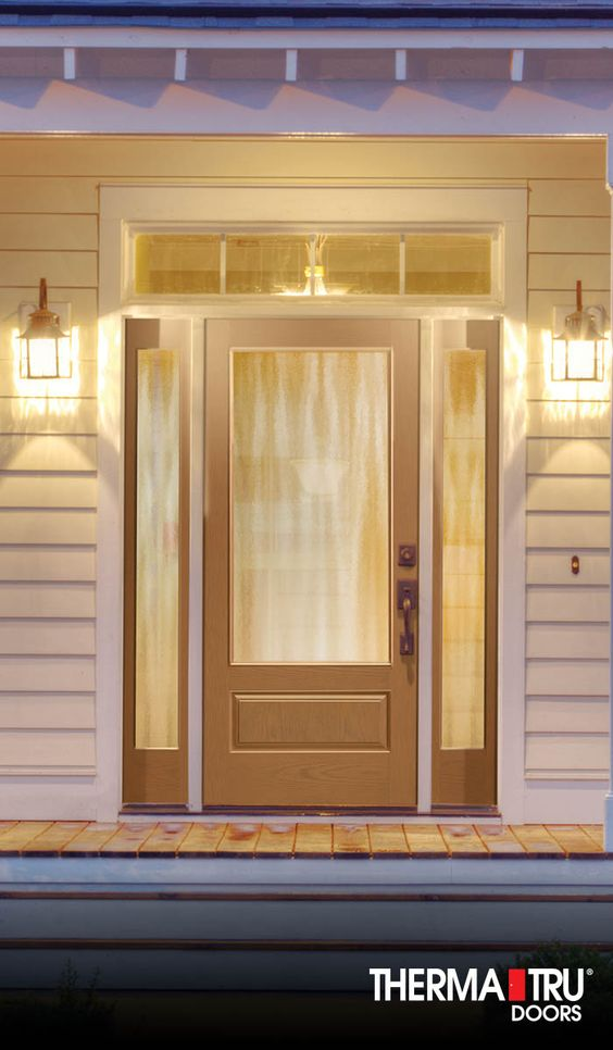 Privacy glass fiberglass entry doors and products on for Harvey therma tru doors