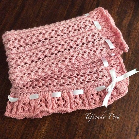 Cobija o manta para beb s tejida en dos agujas en el punto - Mantas de punto a dos agujas ...