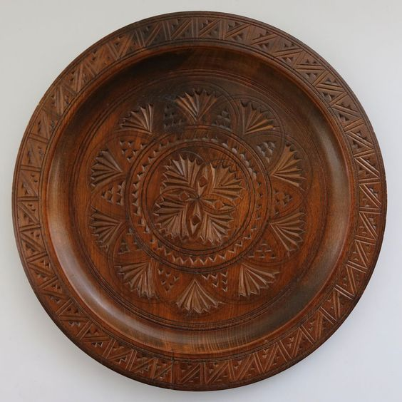 "Centar Hand Carved Intricate Design 10"" Wood Plate Slav Brod Made in Yugoslavia"