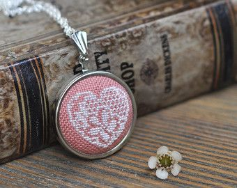 Coral Lace Necklace Valentine's Heart by LivingOnTheRainbow