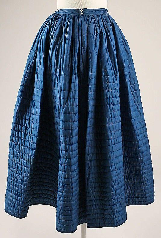 1840s quilted petticoat COBALT