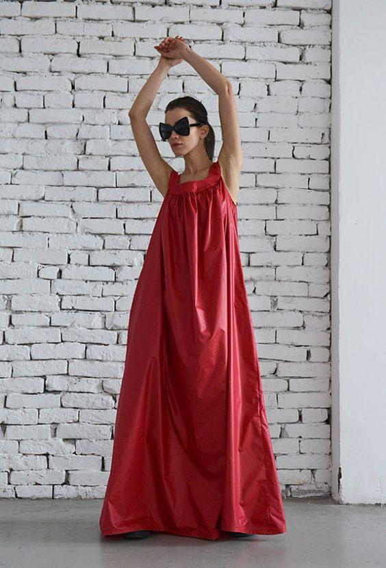 Maxi vestido flojo rojo negro Oversize túnica vestido verano