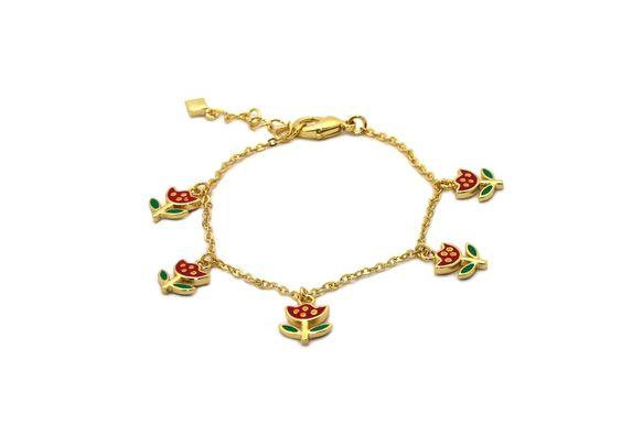 Gioelli Children's 18k Gold Overlay Enamel Flower Bracelet