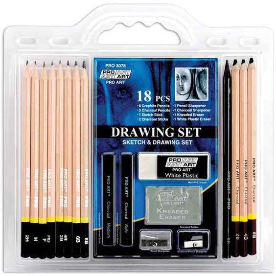 Show off your drawing skills with this comprehensive drawing set from Pro Art. This kit features graphite and charcoal pencils, sharpeners and more. A must-have for the budding artist or professional,