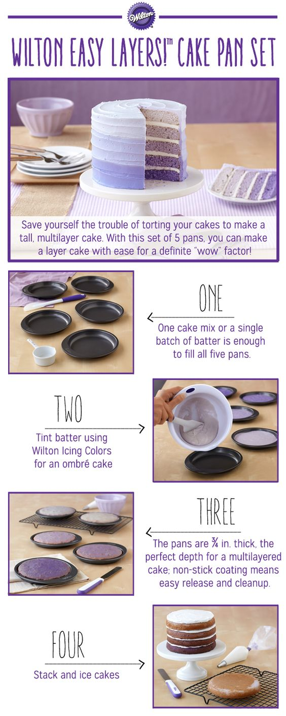 This pan set is the best and easiest way to make a 5-Layer Cake!