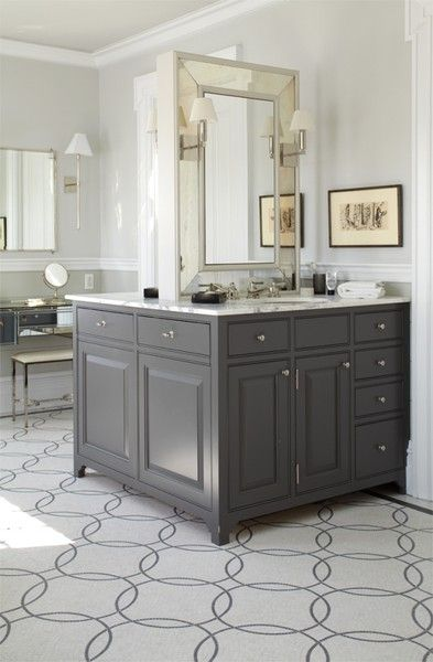 Back To Back Single Charcoal Gray Bathroom Vanities Beveled Mirrors Polished Nickel Sconces