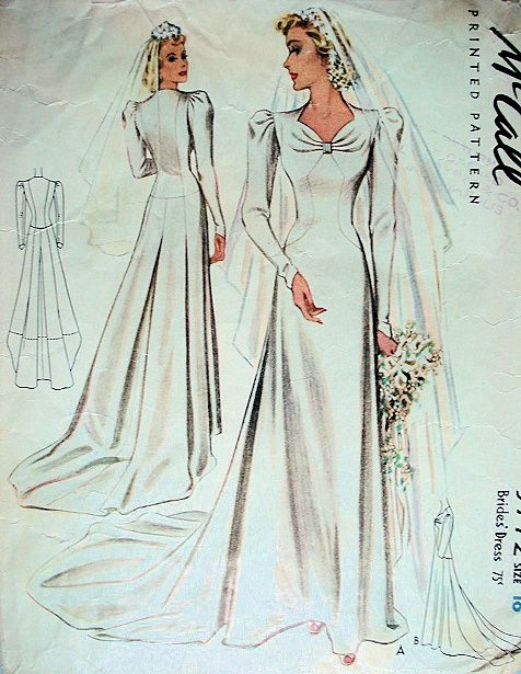 1940 beautiful wedding gown bridal dress pattern for Mccall wedding dress patterns