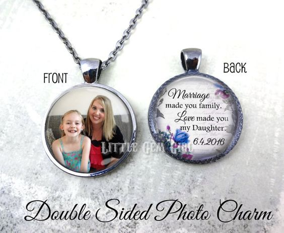 Wedding Gifts For Stepmom: Personalized Photo Stepdaughter Necklace