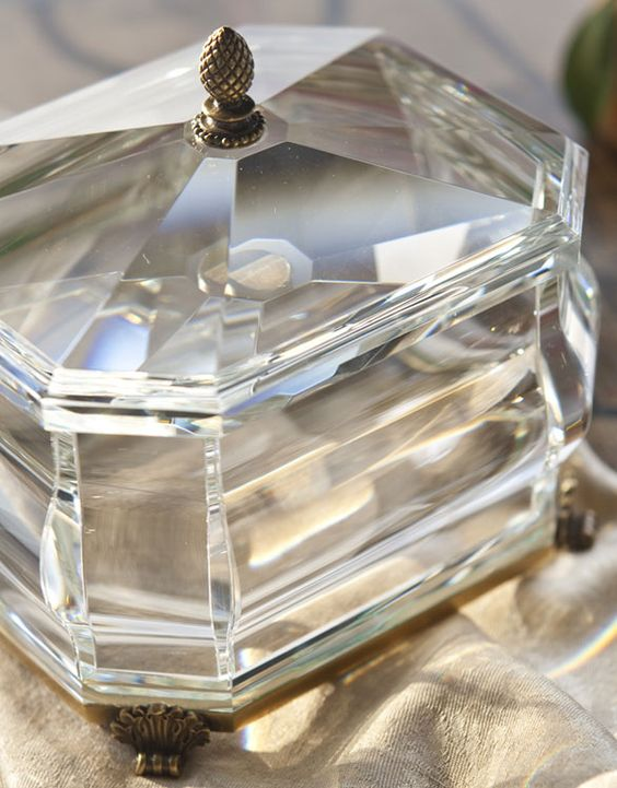 gorgeous octagonal solid crystal box with antique solid brass accents; crystal home accessories