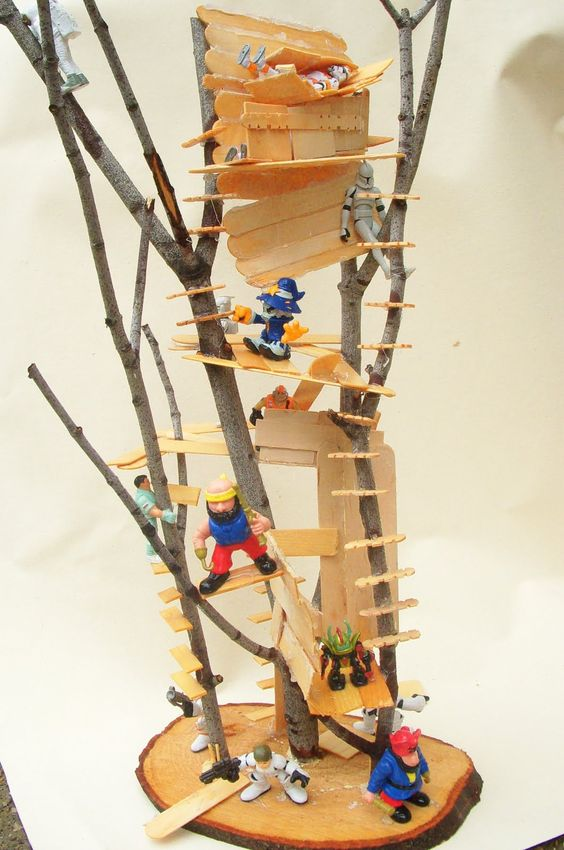 Tree house for dolls made of sticks and popsicle sticks for How to build a treehouse with sticks