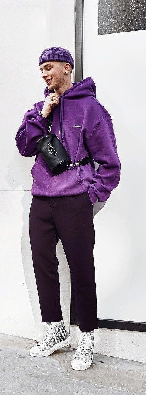 Purple Hoodie And Purple Beanie Outfit Street Style Fashion Hoodies Men Style Hoodie Outfit Men Mens Outfits