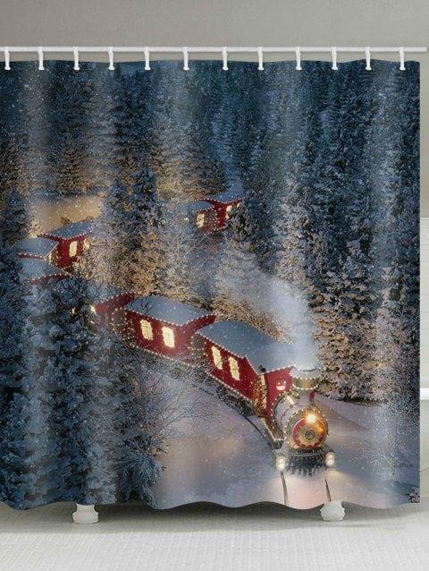 Christmas Forest Train Print Waterproof Bathroom Shower Curtain