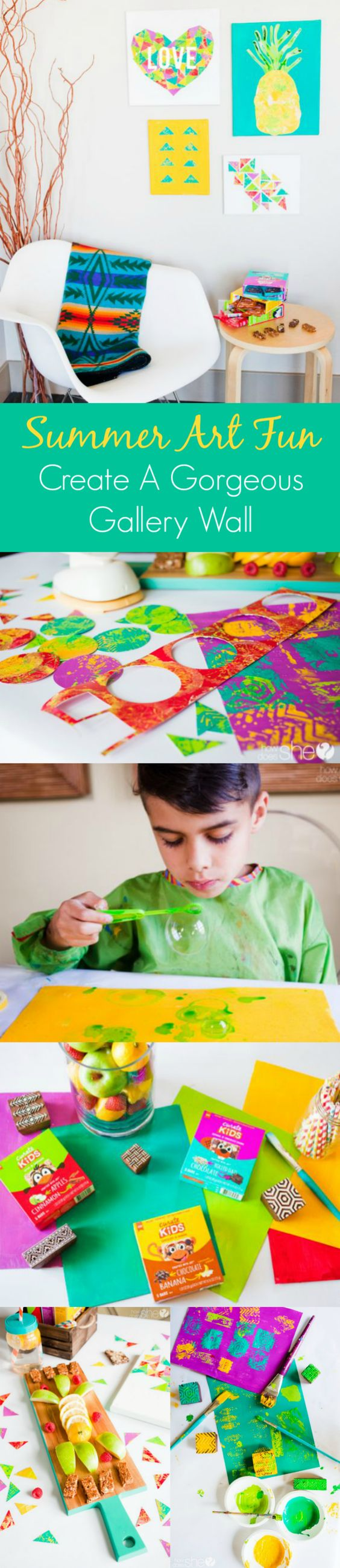 """Four fun painting projects for kids. Plus, turn their """"not-so-perfect"""" art into a gorgeous gallery wall that is truly display-worthy! Great ideas for summer fun with @CurateSnacks and @HowDoesShe. TasteCurate AD"""