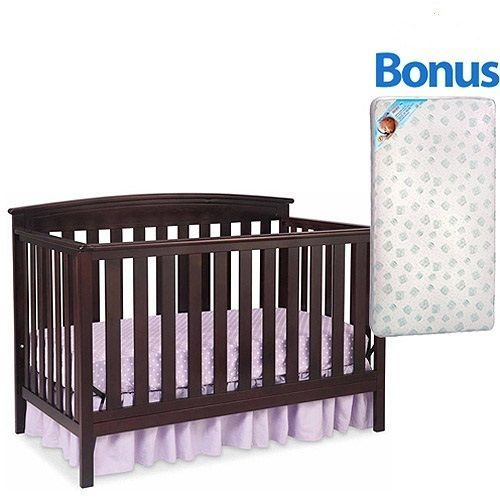 New 4 in 1 Convertible Baby Crib W/ Mattress Toddler Nursery Bed Changer Side