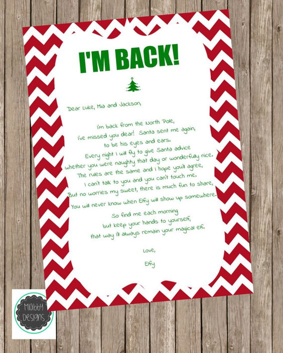 Trust image within elf on the shelf welcome back letter printable