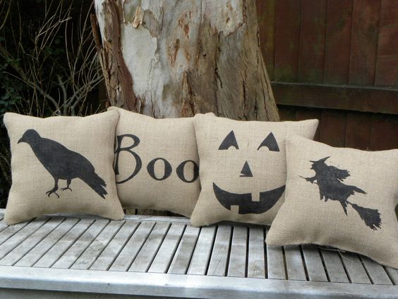"""Cute little pillow perfect for Halloween decor. Made with high quality burlap with a black witch on a broomstick hand stamped on the front.  Comes filled with polyfill and slip stitched closed at the bottom to save having to switch your pillows around for the season.   Measures approx 11"""" x 11"""".  $19.50, via Etsy."""