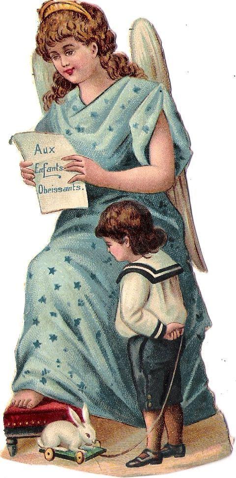 Oblaten Glanzbild scrap die cut Engel angel XMAS Weihnachten Kind bunny Hase   | eBay: