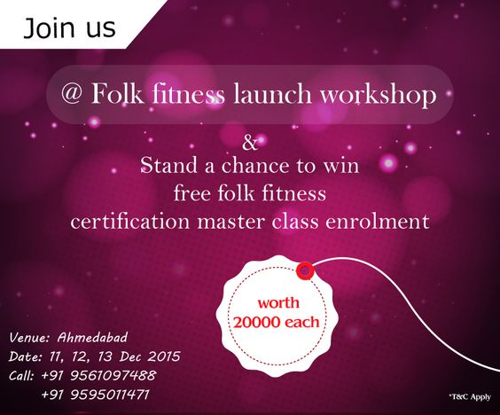 Get set guys. Come join us @Folk Fitness Launch Workshop and stand a chance to win free master class enrollment upto Rs 20000/-  ‪#‎folkfitness‬ ‪#‎fitnessforfolks‬ ‪#‎fitness‬ ‪#‎folkdance‬ ‪#‎FitIndia‬ ‪#‎India‬ ‪#‎indianfolkdance‬ ‪#‎indianfolk‬ ‪#‎iloveIndia‬