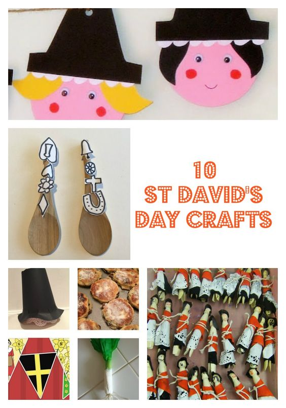 10 St David's Day crafts for kids including recipe for Welsh cakes, Welsh ladies bunting, Welsh lady peg dolls, Welsh paper hat craft, Welsh love spoon craft and a kitchen paper leek!