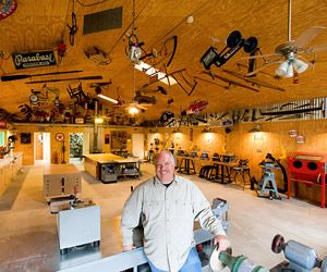 ... in his recently finished 30x60' workshop 75 miles east of Los Angeles