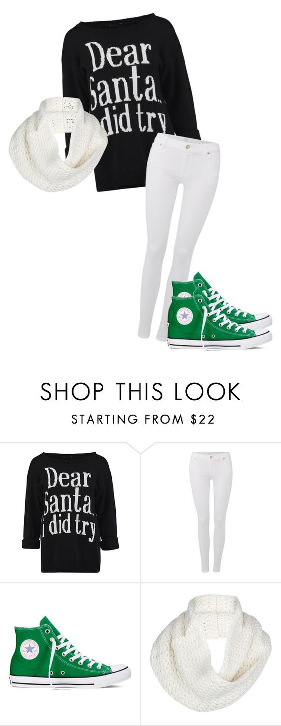 """""""I tried"""" by beckhamrose ❤ liked on Polyvore featuring 7 For All Mankind, Converse, UGG Australia, cute, swag and santa"""