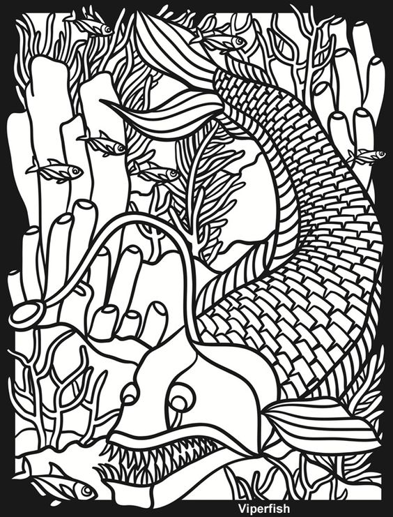 Creatures of the Deep Stained Glass Coloring Book Aqua