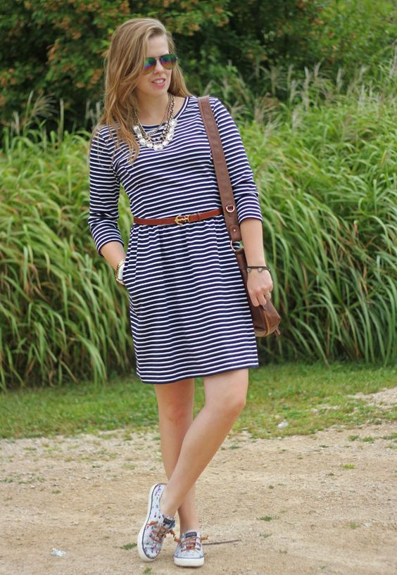Stripes with a Dash of Brown: striped dress, Sperry shoes, brown Kiel James Patrick belt, gold statement necklace: