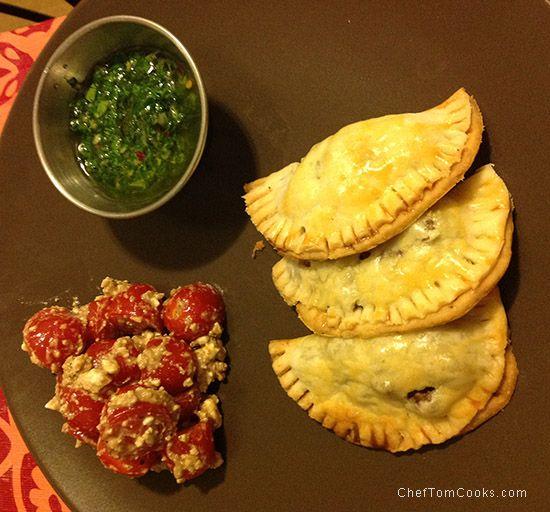 Easy Beef Empanadas with Chimichurri – Served with Tomato Feta Salad ...
