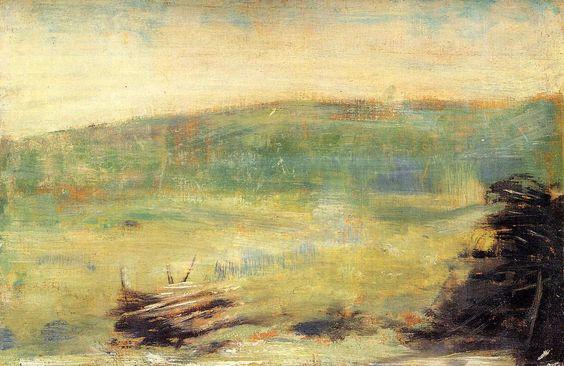 Paysage à Saint-Ouen, Huile de Georges Pierre Seurat (1859-1891, France)