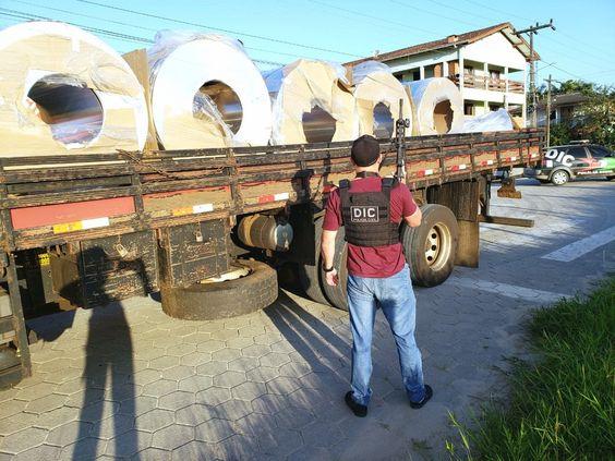 Polícia recupera em SC carga de bobina roubada em SP avaliada em R$ 550 mil