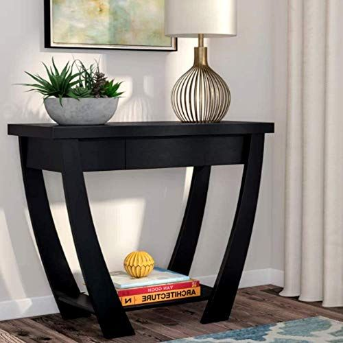 Mid Century Modern Tv Console Table Solid Wood Top Black Finish Residential Console Table Con Mid Century Modern Tv Console Shelf Design Narrow Console Table