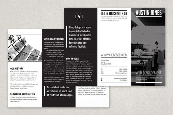 A minimalist modern black and white brochure design that can be - black flyer template