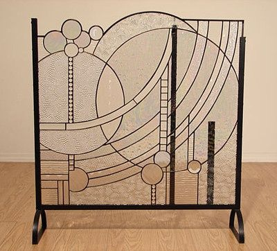 Art deco fireplace screen google search ideas for the house pinterest stained glass - Find best contemporary fireplace screen ...