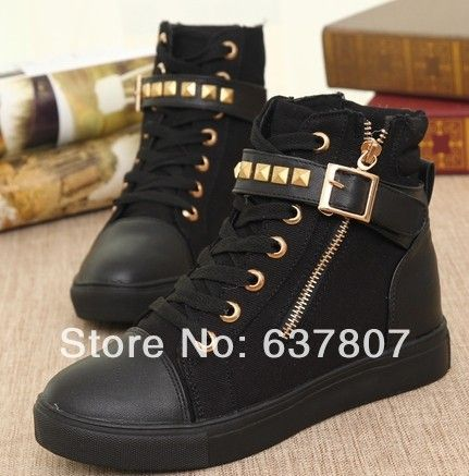 2014 new hot sale women rivets canvas shoes high running shoes for leisure sneakers white black blue dwre3 US $27.50