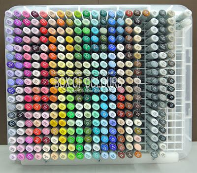 Copic storage using eggcrate louvre which is used in ceiling lighting.