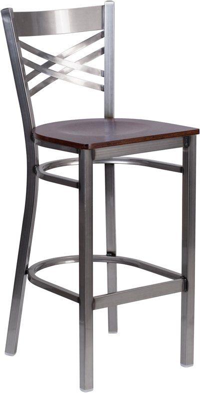 Metal Restaurant Bar Stool Walnut Wood Seat Metal Bar Stools
