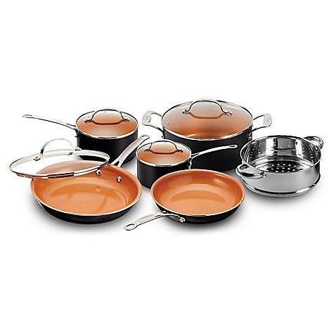 Gotham Steel Ti Cerama 10 Piece Cookware Set Copper Cookware